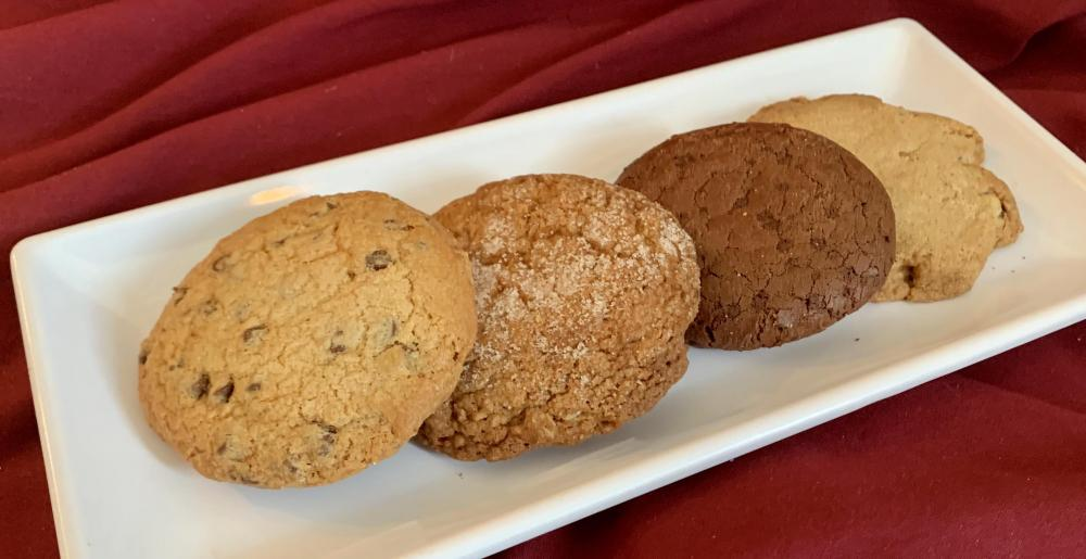 Chocolate Chip Cookie, Oatmeal Cookie, Double Chocolate Cookie, Cinnamon Walnut Cookie