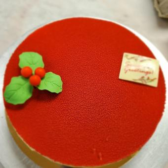 Pistachio White Chocolate Cherry Entremet